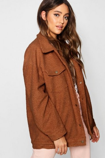 Womens Camel Teddy Faux Fur Trucker Jacket