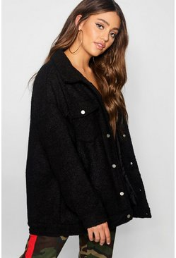 Womens Black Teddy Faux Fur Trucker Jacket