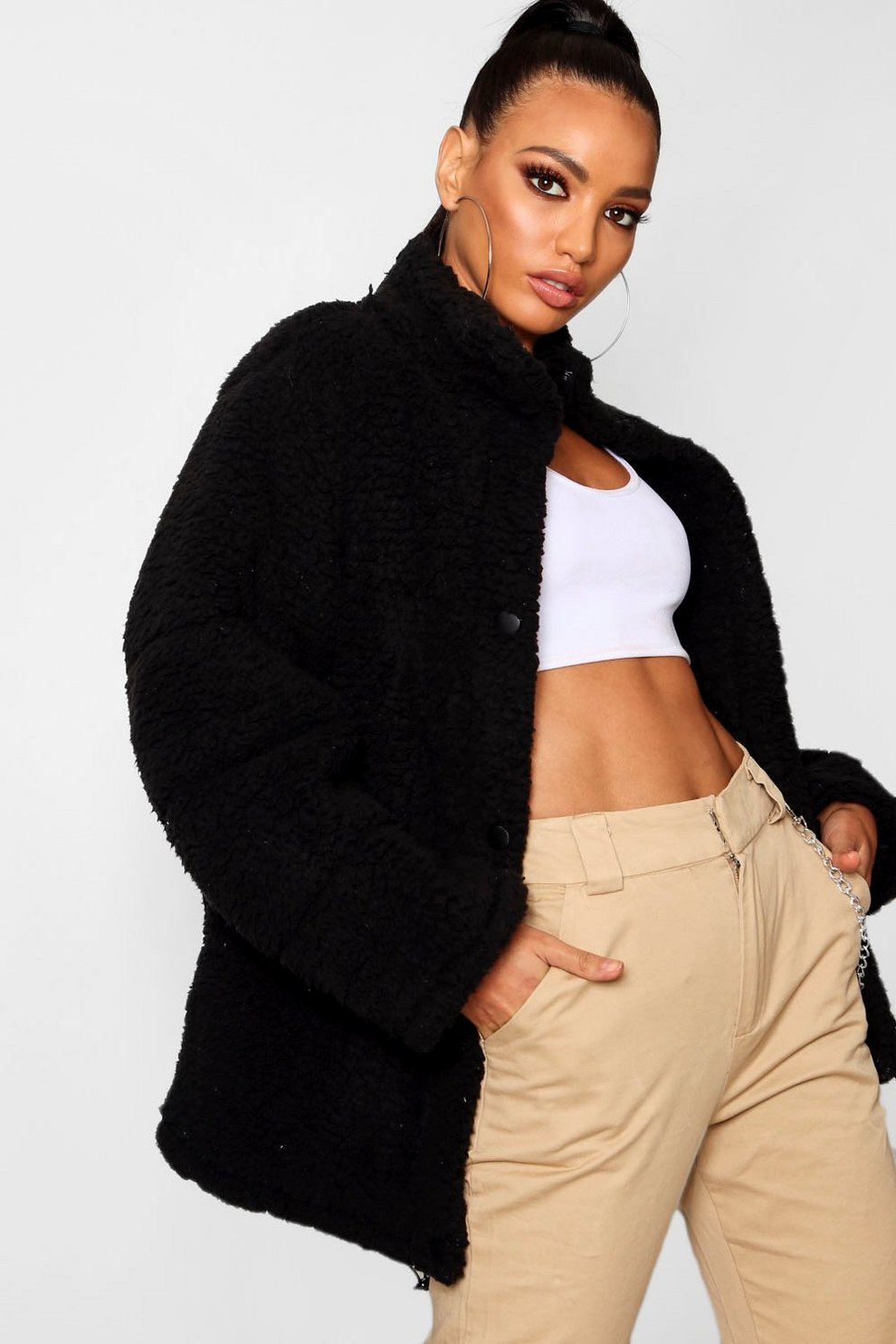 Oversized Fleece Puffer Jacket Boohoo Jaket Abyss Dark