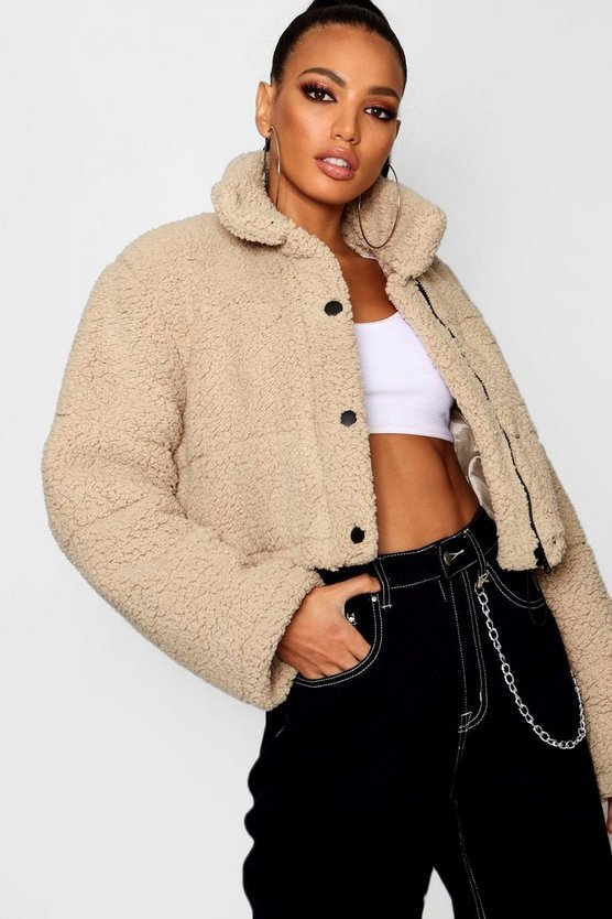 Womens Crop Fleece Oversized Puffer Jacket