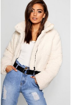 Cream Crop Fleece Oversized Puffer Jacket