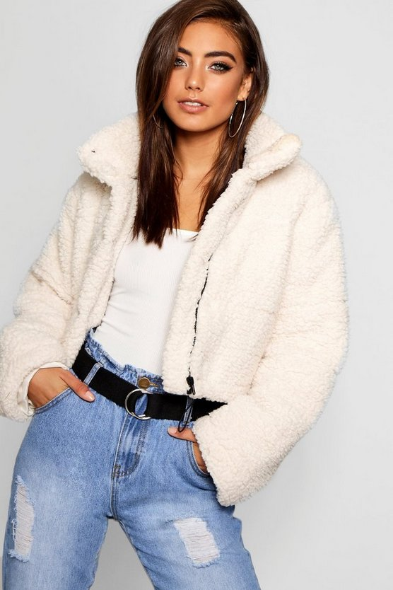 Womens Cream Crop Fleece Oversized Puffer Jacket