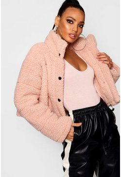 Womens Pink Crop Fleece Oversized Puffer Jacket