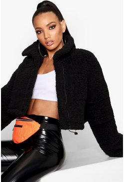 Womens Black Crop Fleece Oversized Puffer Jacket