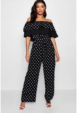 Mix and Match Spot Ruffle Jumpsuit, Black