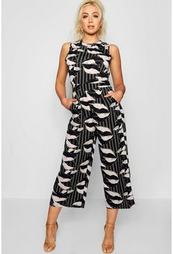 Womens Black Striped Palm Print High Neck Culotte Jumpsuit