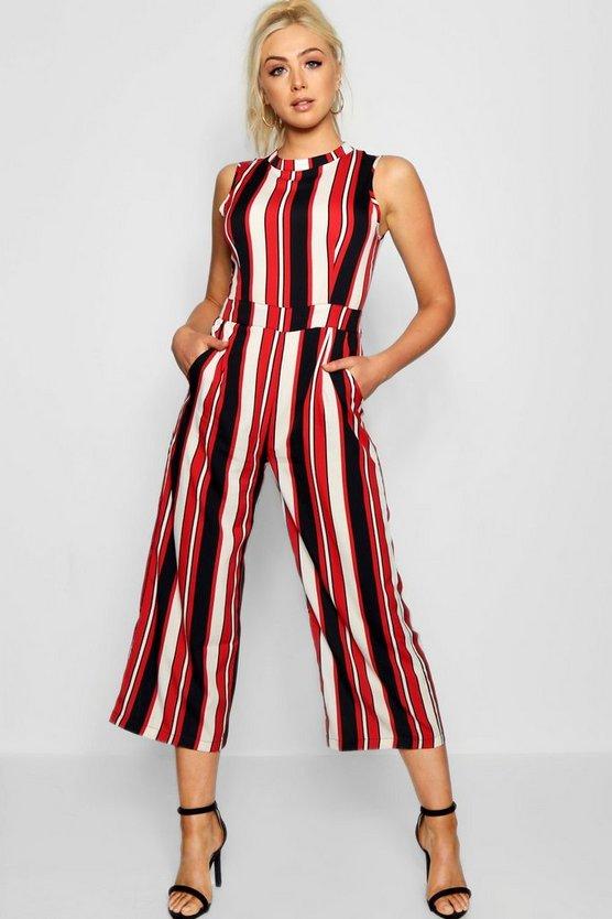 Red Striped High Neck Culotte Jumpsuit