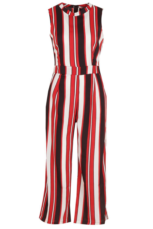 rojo cuello rayas culottes estilo rojas alto Mono a con Yt8qF1
