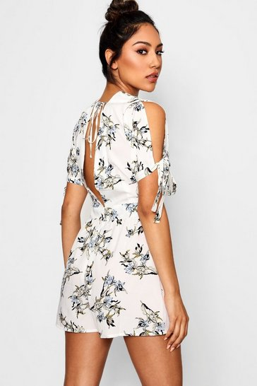 Womens White Floral Open Back Playsuit