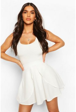 Womens Ivory Overlayer Skater Mini Skirt