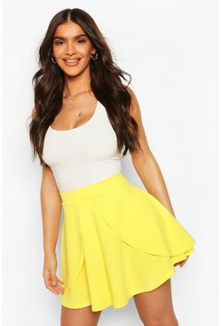 Lemon Overlayer Skater Mini Skirt