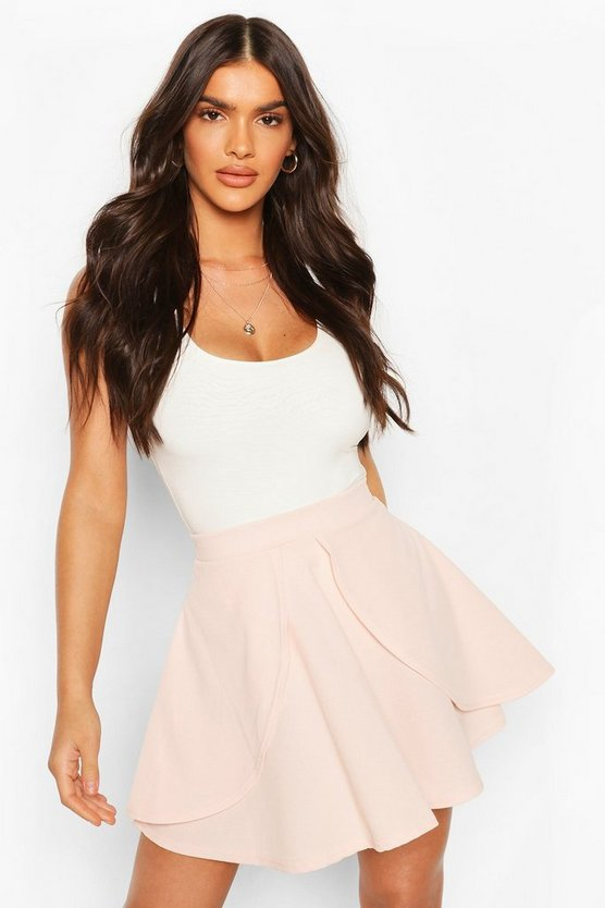 Womens Nude Overlayer Skater Mini Skirt