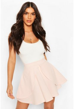 Nude Overlayer Skater Mini Skirt