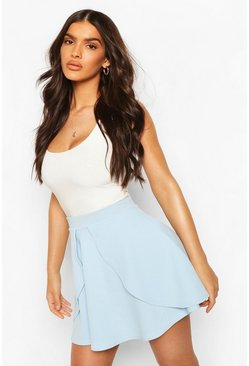 Womens Pastel blue Overlayer Skater Mini Skirt