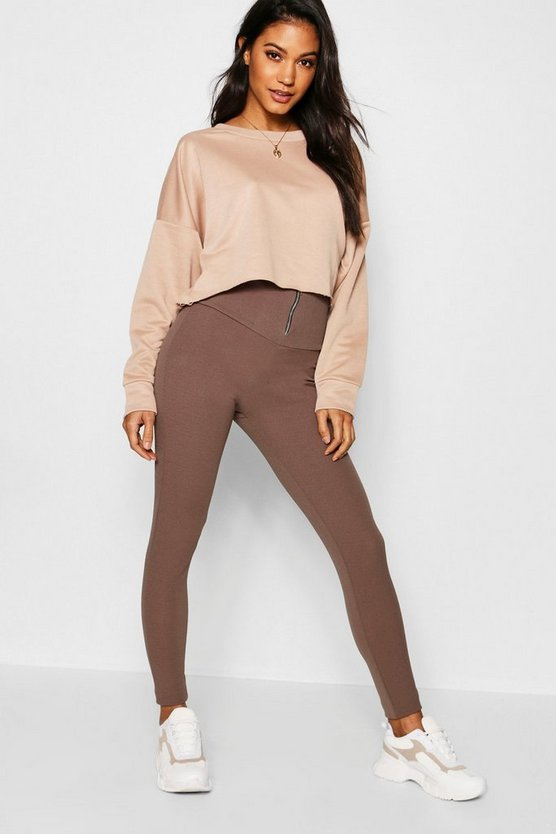 Womens Chocolate Highwaist Zip Front Crepe Leggings