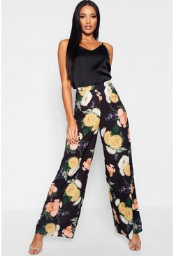 Womens Black Floral Wide Leg Woven Trousers