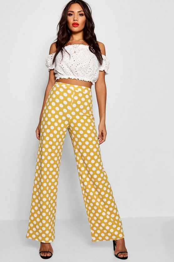 Polka Dot Crepe Wide Leg Trouser