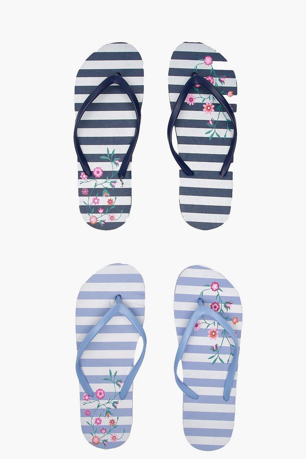 b87a1c3aa7c1 Stripe   Floral 2 Pack Flip Flops