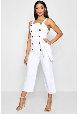 Womens White Button Detail Square Neck Jumpsuit