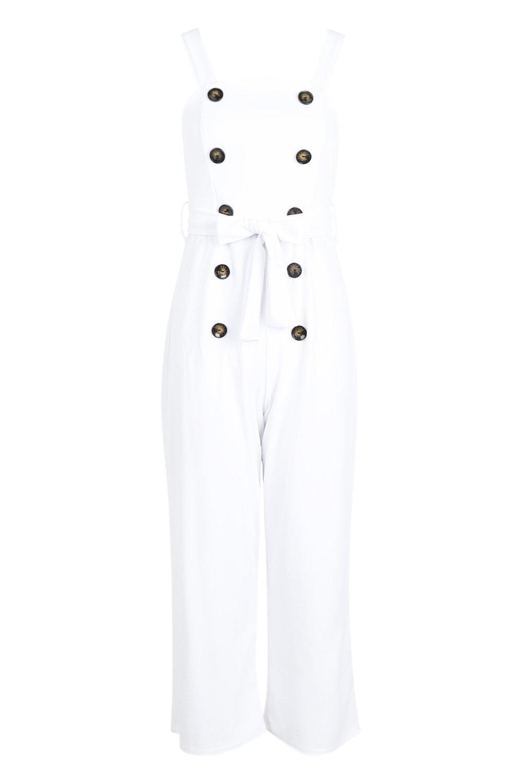 con de Bianca Mono cuadrado blanco y detalle cuello botones A4qdx1
