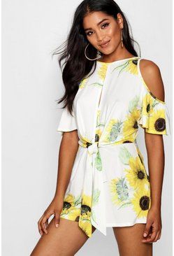 Womens Yellow Sunflower Print Tie Front Playsuit