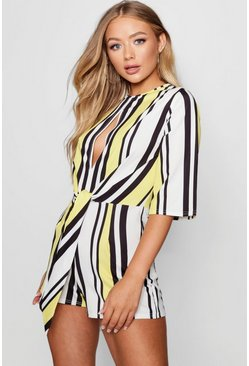 Womens Yellow Stripe Knot Front Playsuit