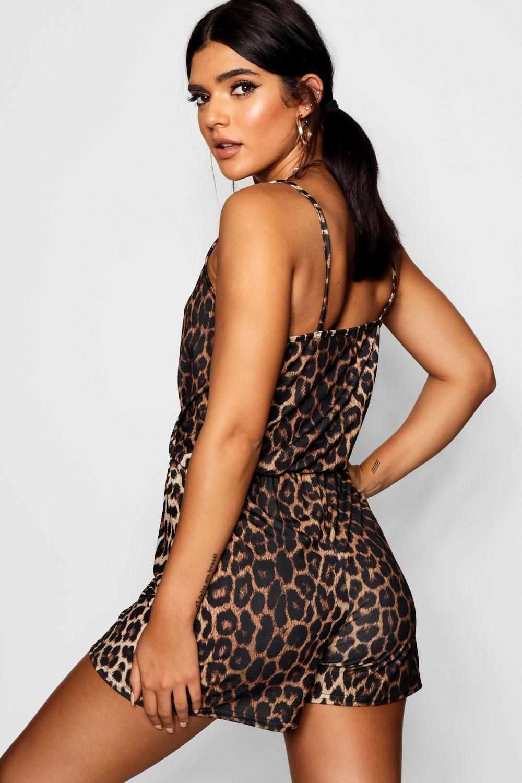 corto camisola estampado leopardo de Manuella cruzado Mono con estilo leopardo dqBR7