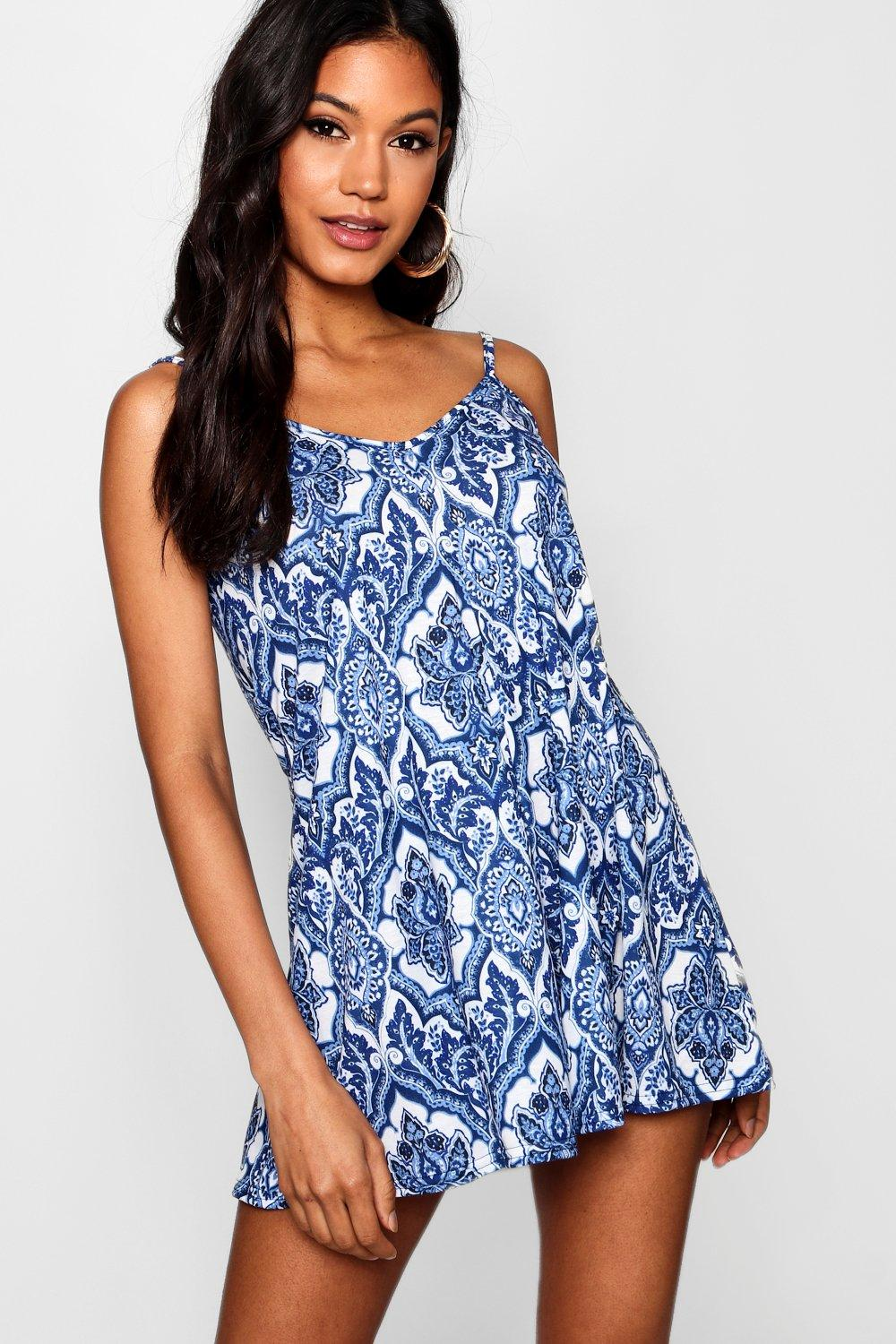 Blue Paisley Swing Playsuit