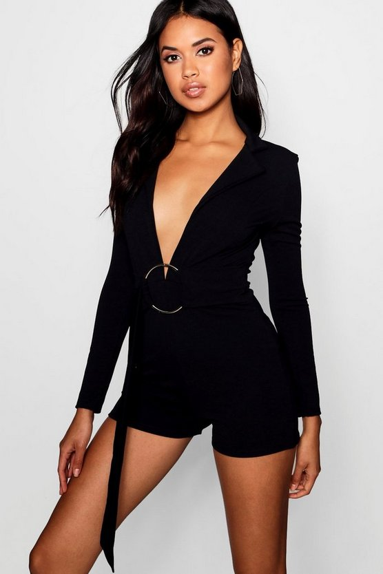 Womens Black O Ring Blazer Playsuit