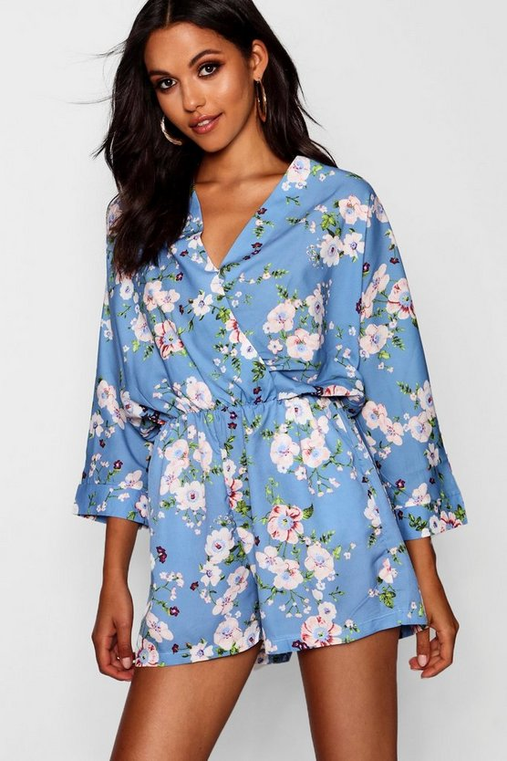 Womens Floral Wrap Playsuit