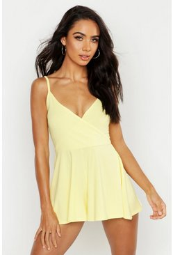 Lemon Basic Cami Wrap Playsuit