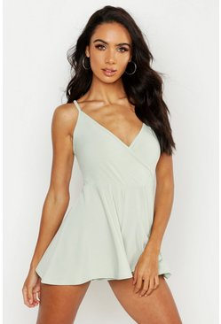 Womens White Basic Cami Wrap Playsuit
