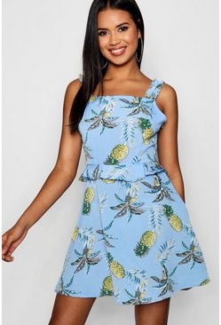 Womens Blue Ruffle Detail Pineapple Print Skater Dress
