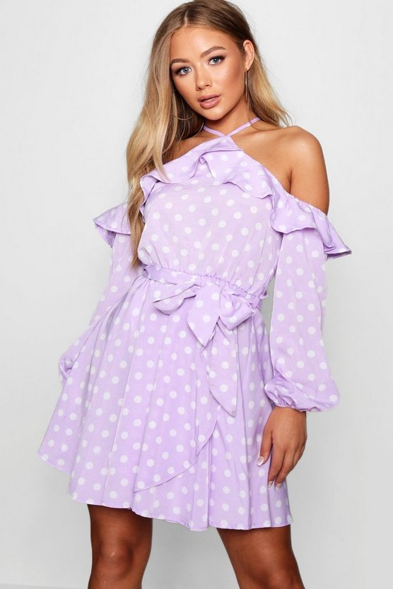 Polka Dot Ruffle Shoulder Skater Dress
