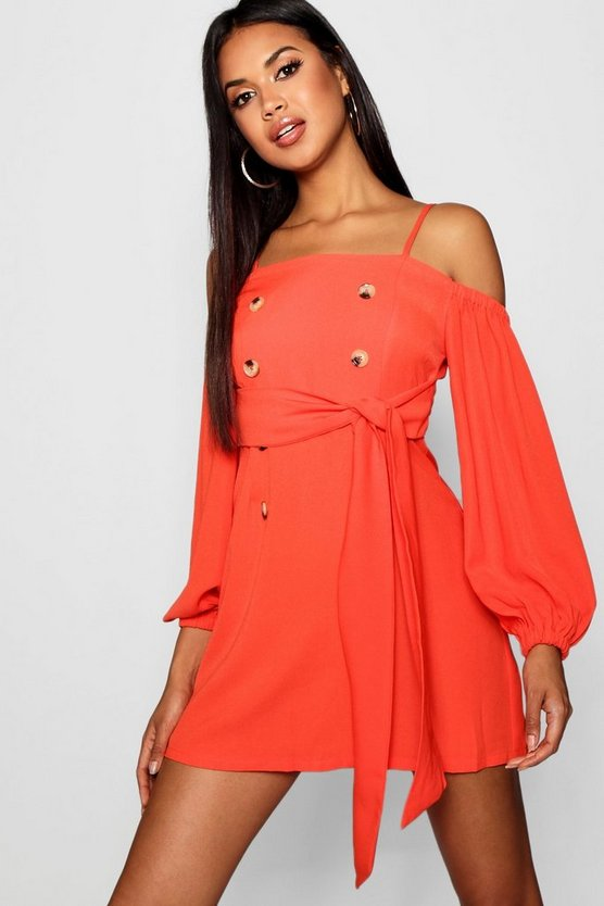 Natalie Button Detail Belted Shift Dress
