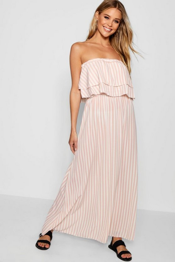 Dara Double Ruffle Striped Woven Maxi Dress
