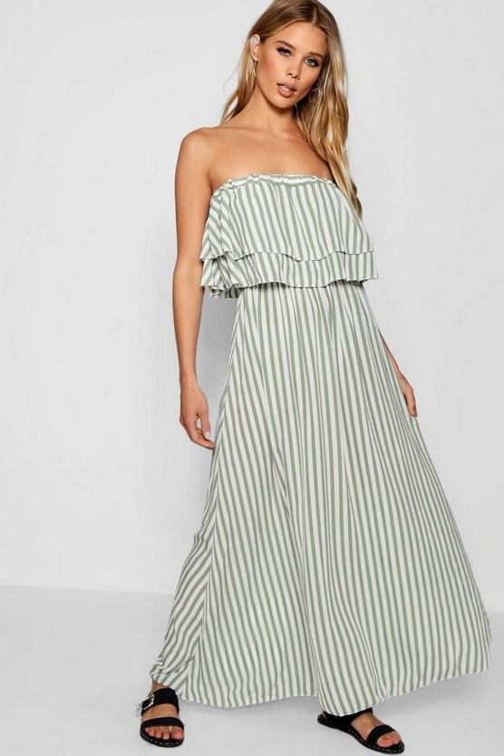 Womens Sage Dara Double Ruffle Striped Woven Maxi Dress
