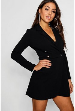 Womens Black Pastel Blazer Style Shift Dress