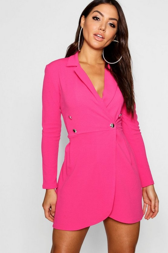 Womens Pink Pastel Blazer Style Shift Dress