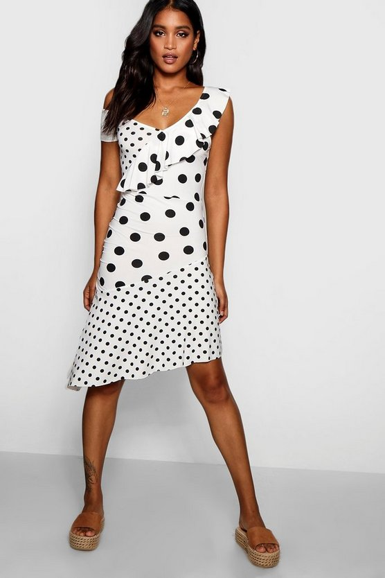 Asymmetric Mixed Polka Dot Print Midi Dress