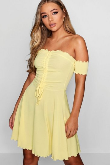 Womens Lemon Ruched Ribbed Lettuce Hem Skater Dress