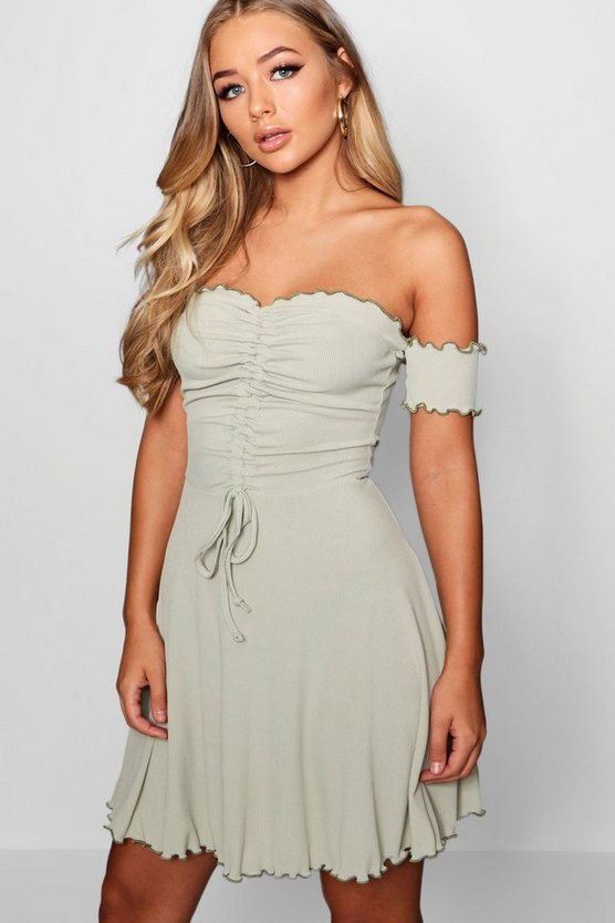 Ruched Ribbed Lettuce Hem Skater Dress