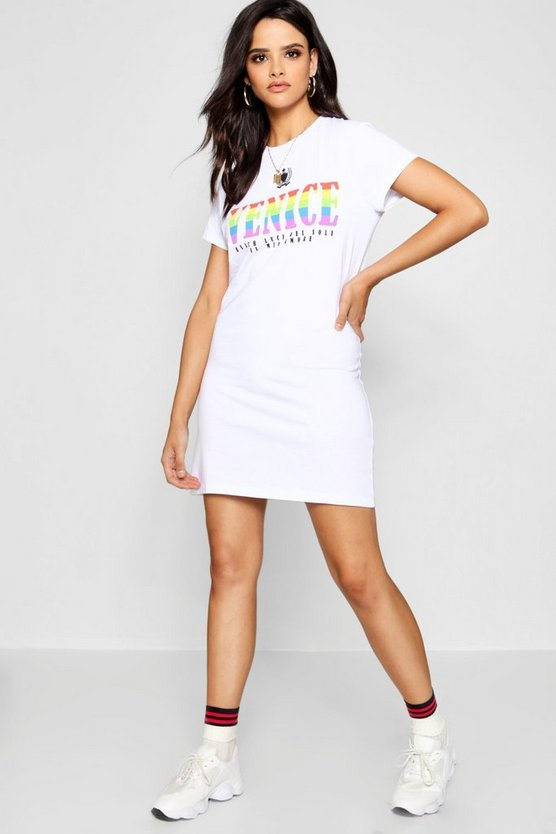 Venice Rainbow Slogan T-Shirt Dress