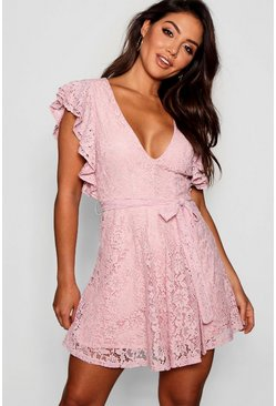 Blush Lace Ruffle Sleeve Skater Dress
