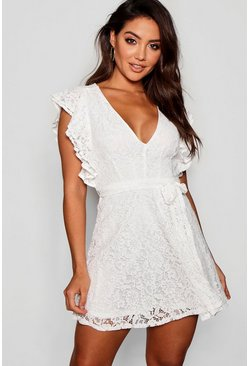 Ivory Lace Ruffle Sleeve Skater Dress