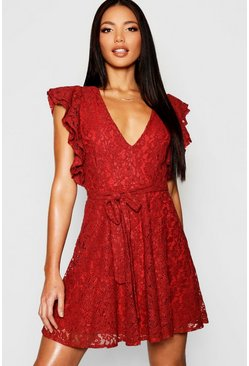 Womens Terracotta Lace Ruffle Sleeve Skater Dress