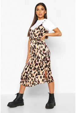 Womens Brown Leopard Satin Slip Dress