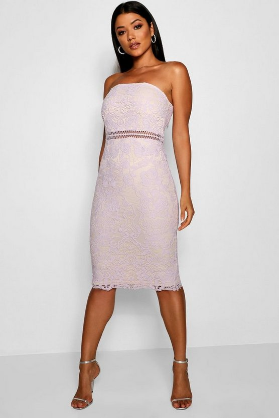 Womens Lilac Katherine Lace Bandeau Midi Dress