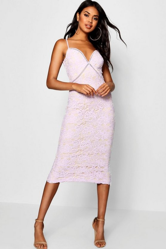 Womens Lilac Izzy Lace Panel Detail Ruffle Hem Midi Dress