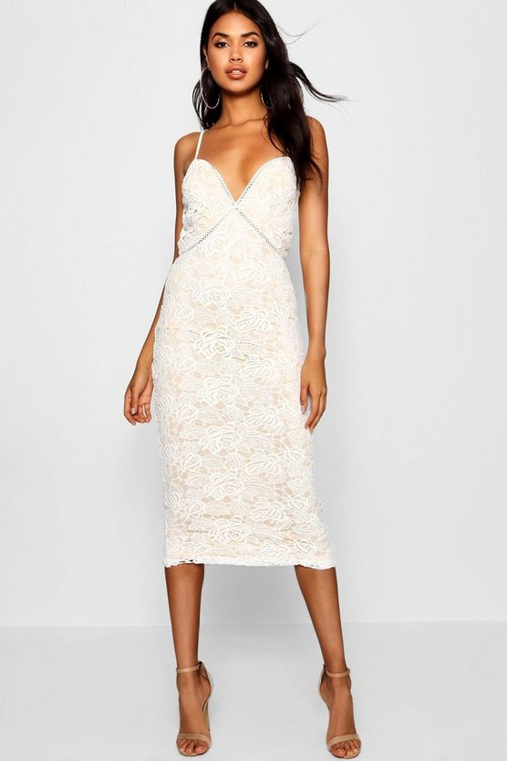 Izzy Lace Panel Detail Ruffle Hem Midi Dress